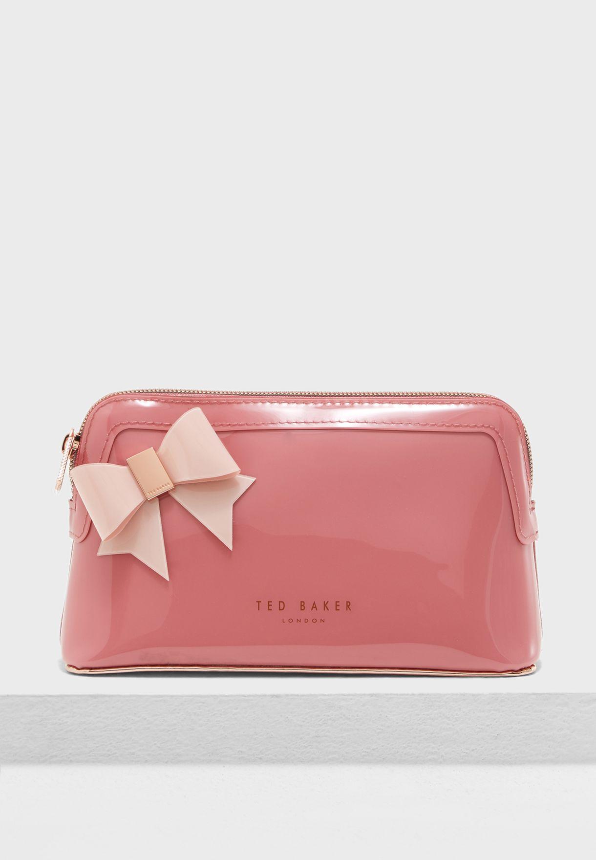 8658bda645 Shop Ted baker pink Ixoriaa Bow Makeup Bag 150029 for Women in Qatar ...
