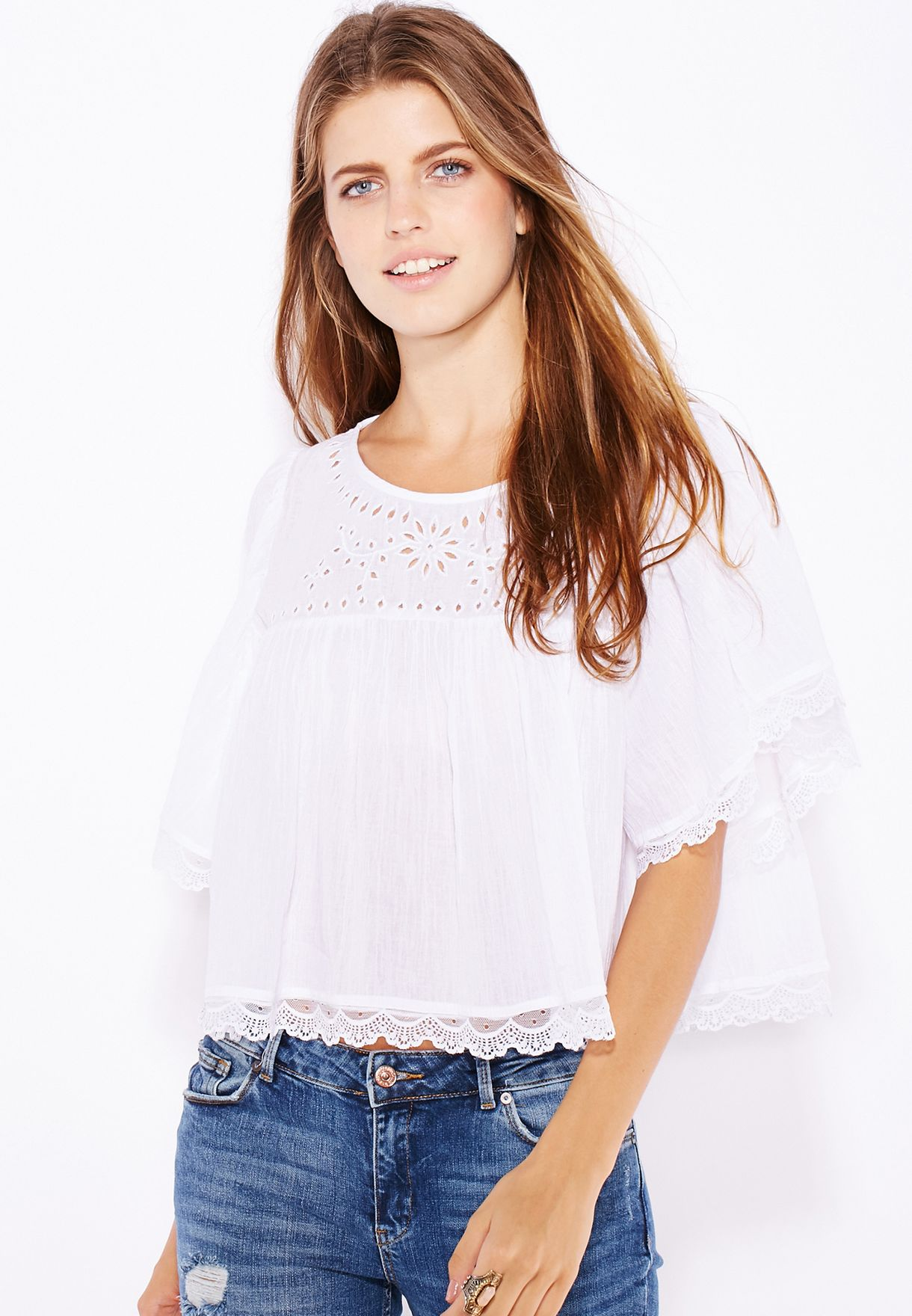 fc605ce660b72d Shop Mango white Lace Eyelet Top 63005575 for Women in Qatar ...