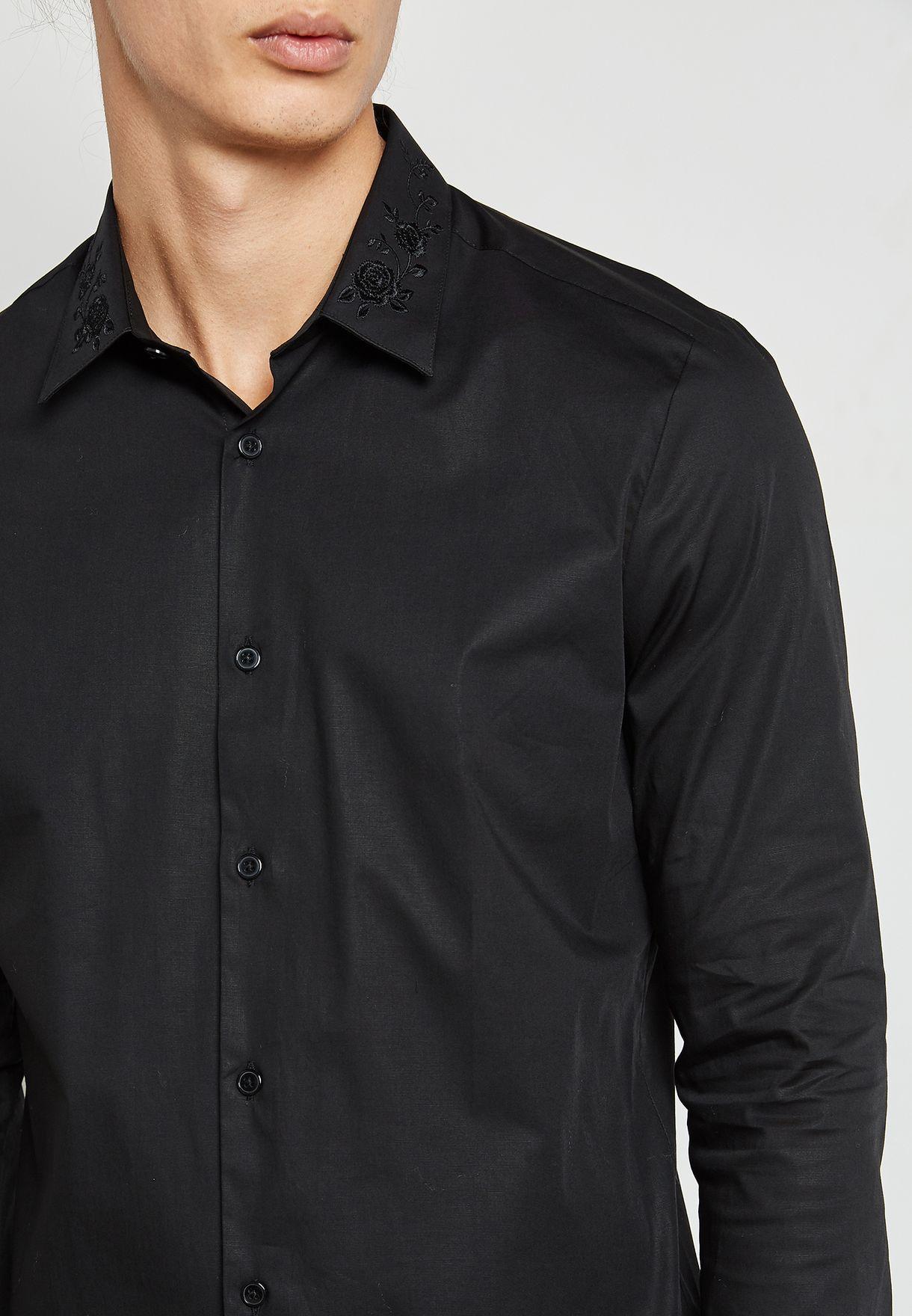 Shop Burton Black Embroidered Collar Shirt 22d01lblk For Men In