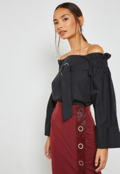 fb43e394be1b33 Shop Lost Ink black Ring Detail Bardot Top with Oversized Sleeves  1101121170280001 for Women in UAE - LO956AT44ZKX