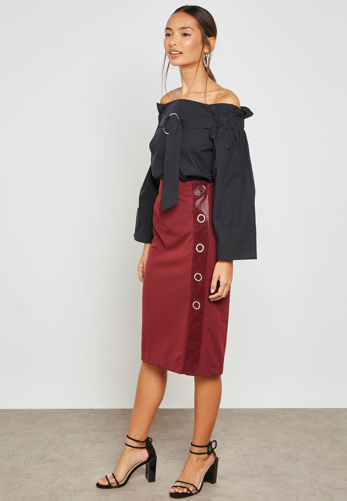 Ring Detail Bardot Top with Oversized Sleeves