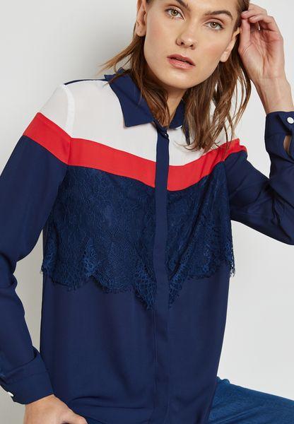 Colourblock Lace Paneled Shirt