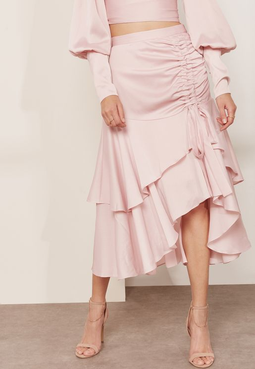 Ruched Asymmetric Frill Detail Skirt