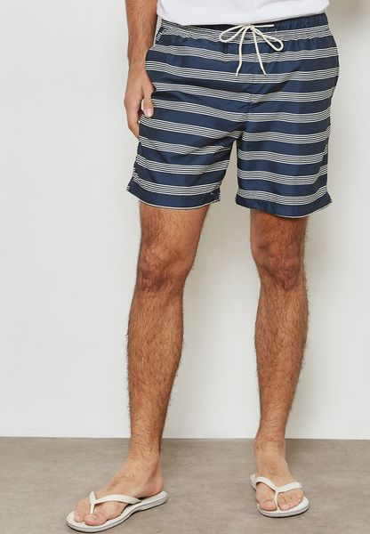 Heritage Egret Striped Swim Shorts
