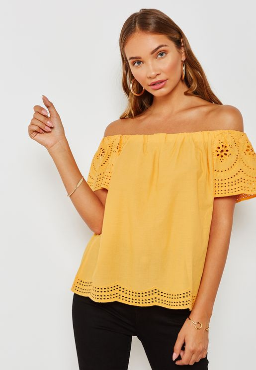 Broderie Sleeve Bardot Top