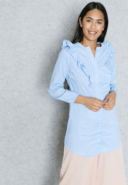 Ruffle Paneled Longline Shirt