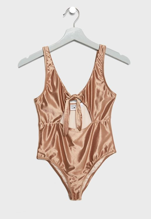 Tie Front Metallic Cut Out Swimsuit