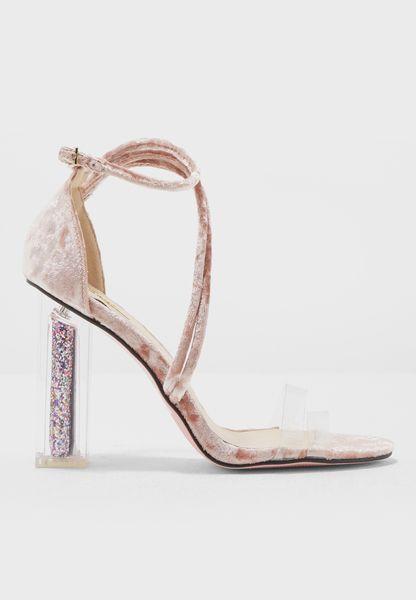 Velvet Sandals With Glitter Heels