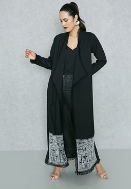 Frayed Trim Embroidered Hem Abaya