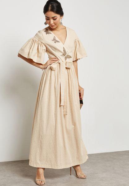 Butterfly Applique Wrap Front Dress