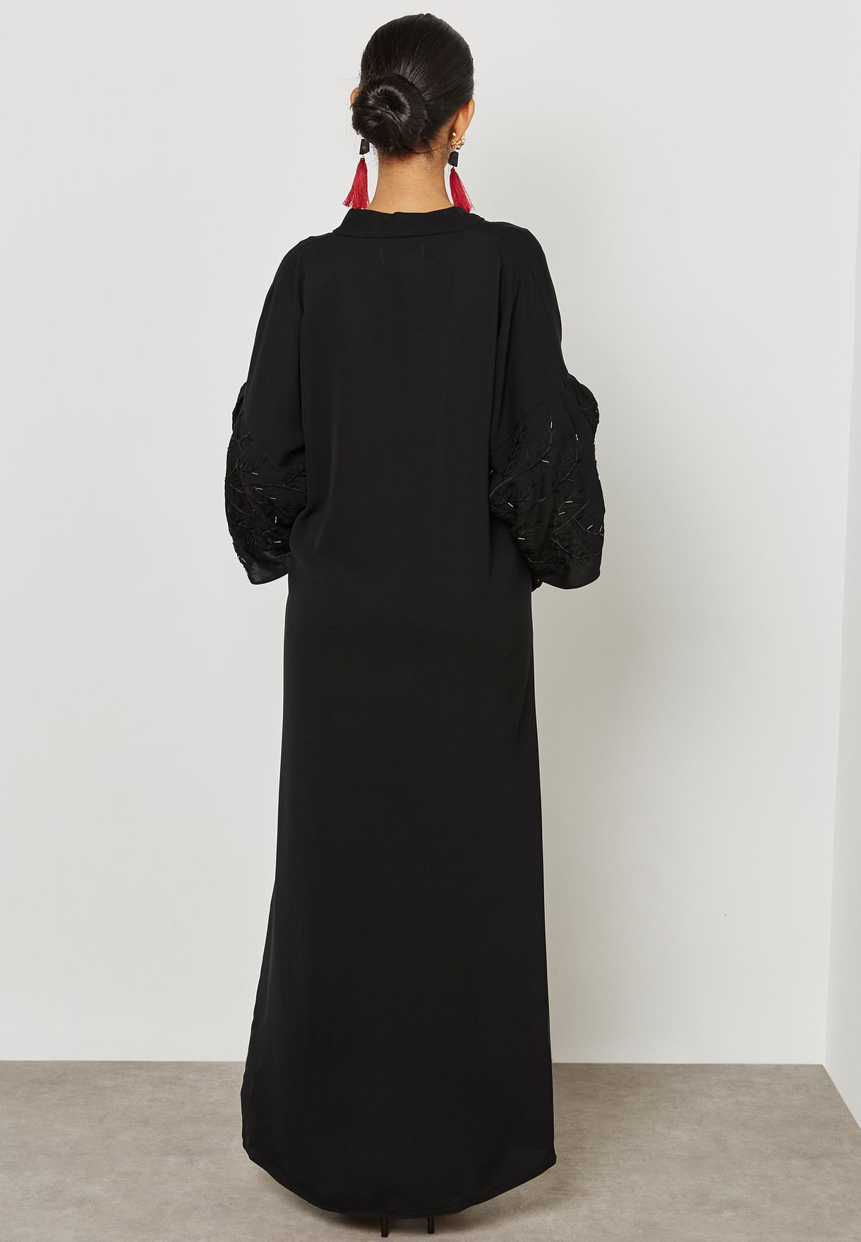 Tiered Embroidered Sleeves Abaya