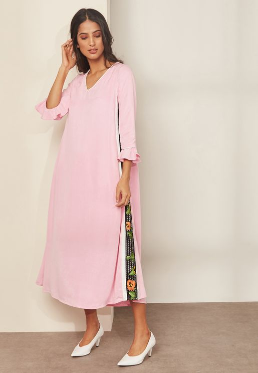 Trinny Floral Embroidered Maxi Dress