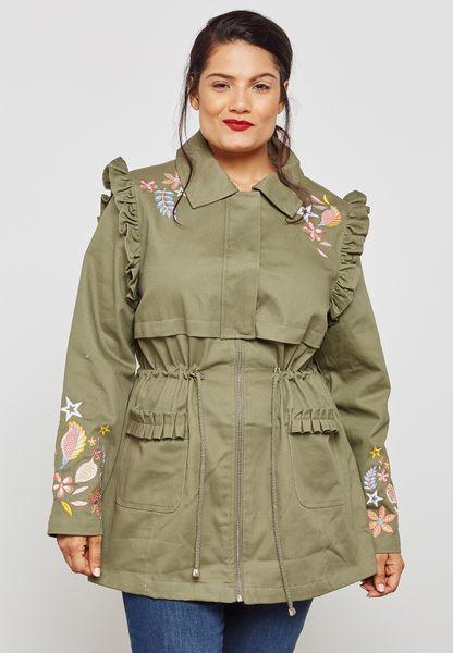 Embroidered Ruffle Jacket