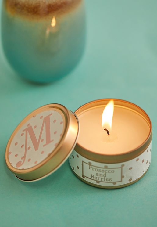 M Initial Tin Candle