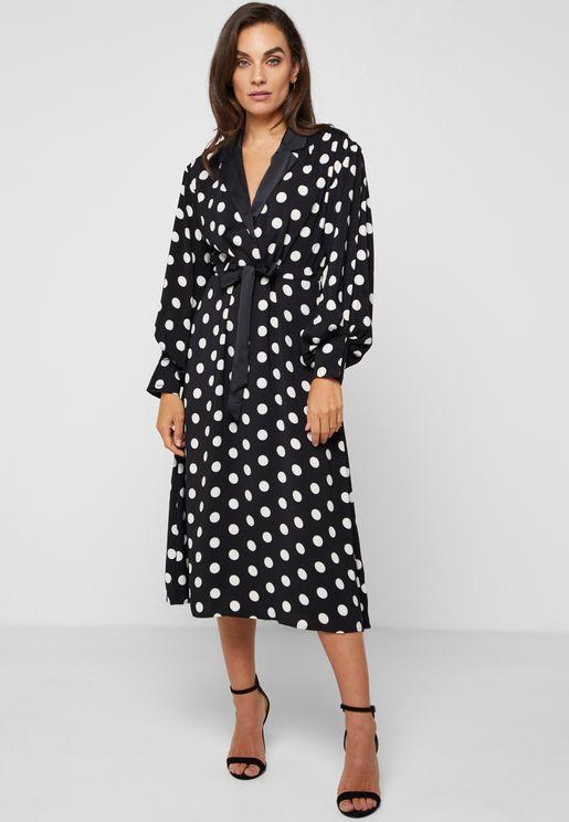 Polka Dot Self Tie Shirt Midi Dress