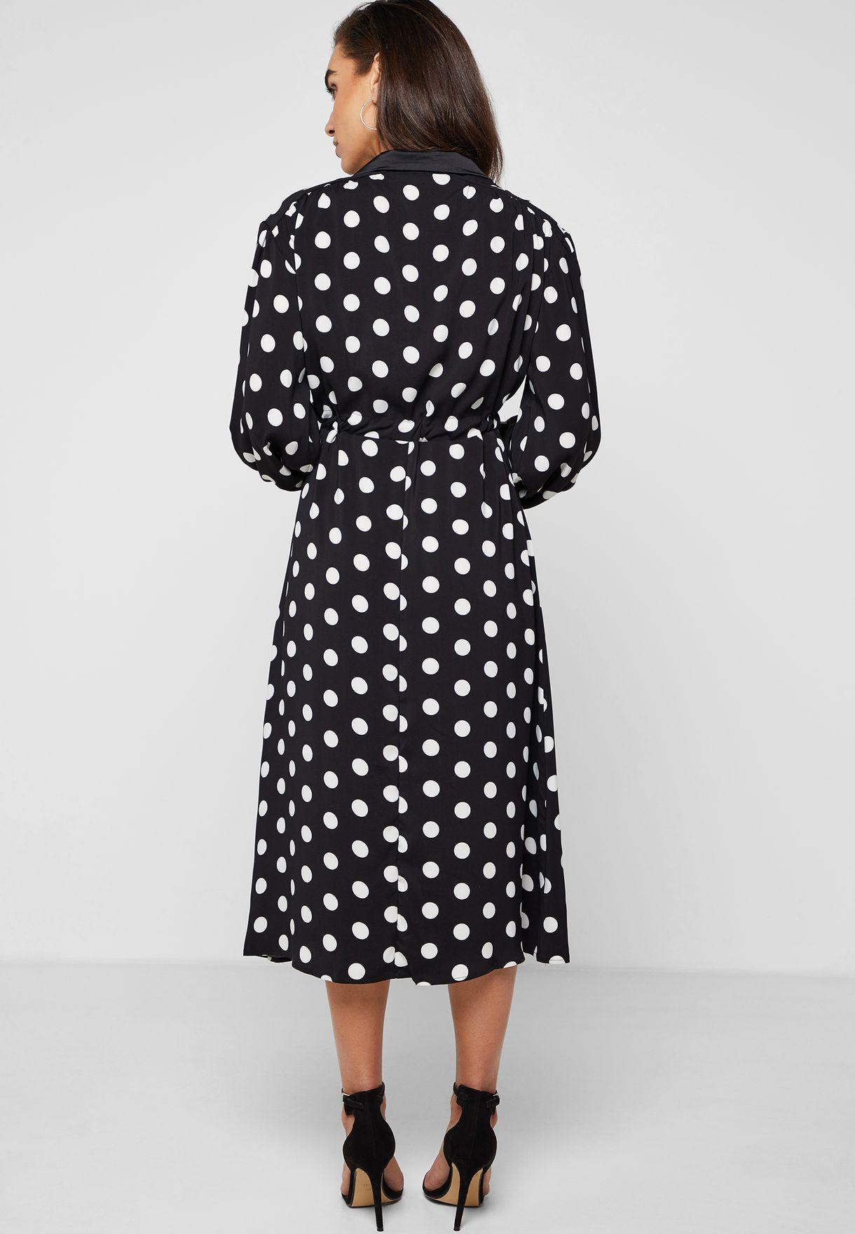 فستان ميدي بطبعات نقاط بولكا مع اربطة