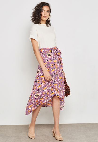 Floral Print Wrap Front Tie Skirt