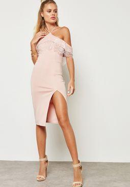 Halter Neck Ruffle Bardot Dress