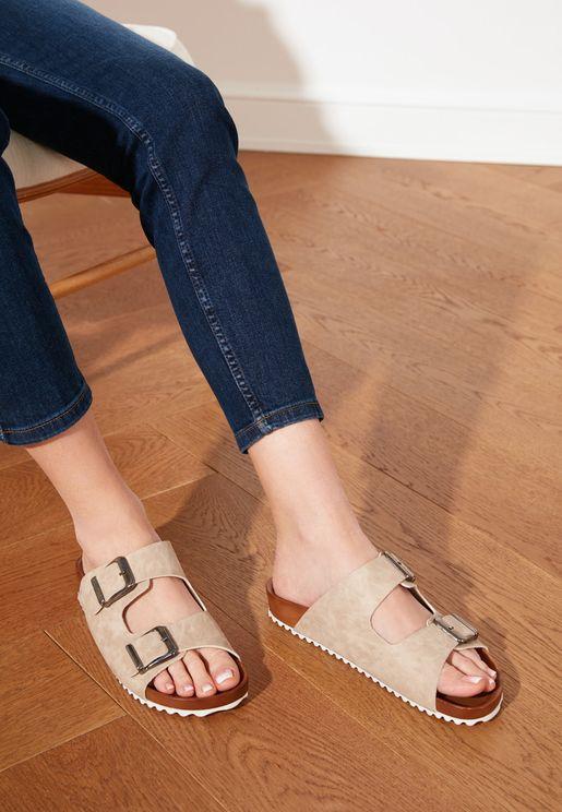 Double Buckle Wedge Sandal