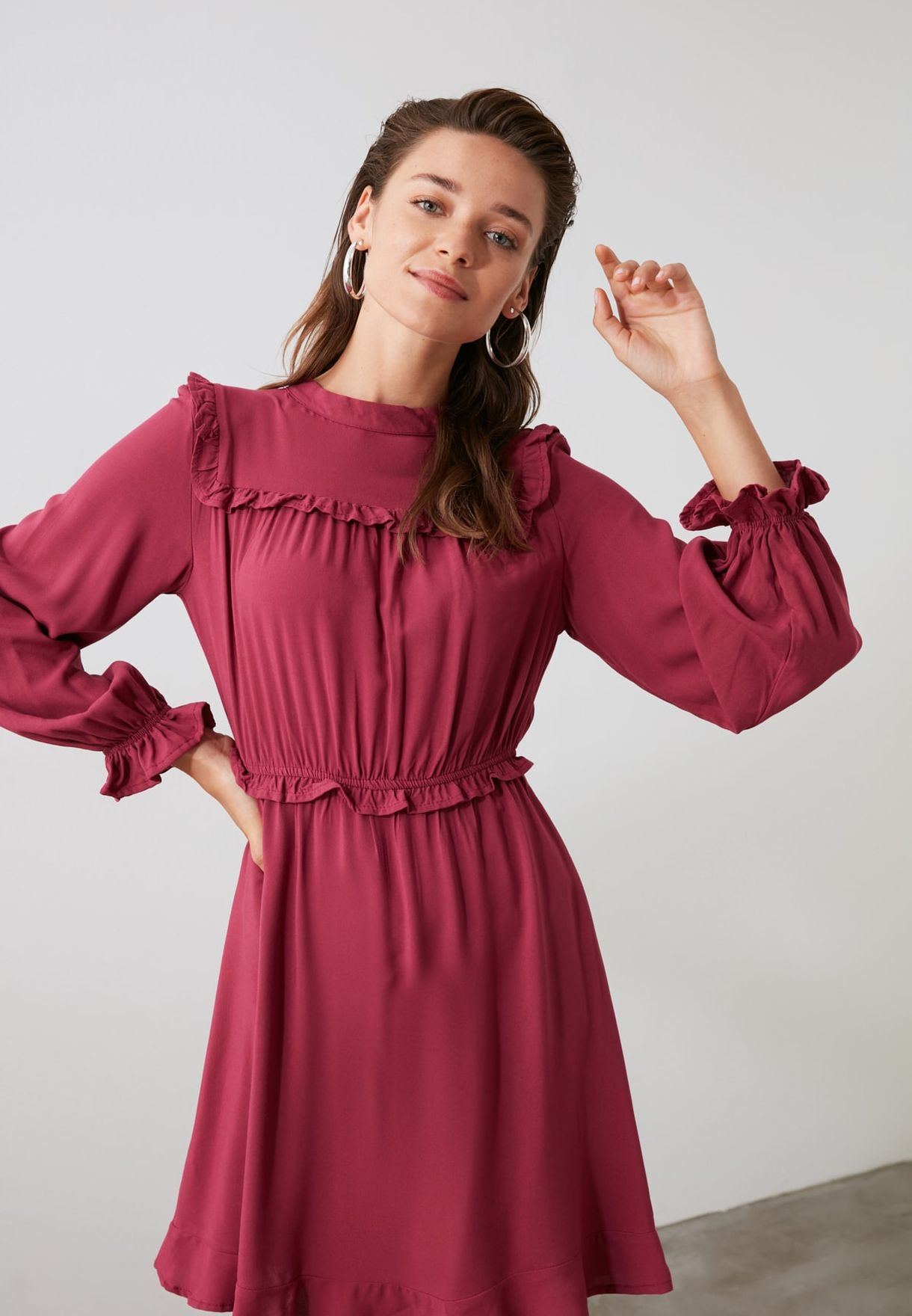 Ruffle Detail Ruched Waist Dress