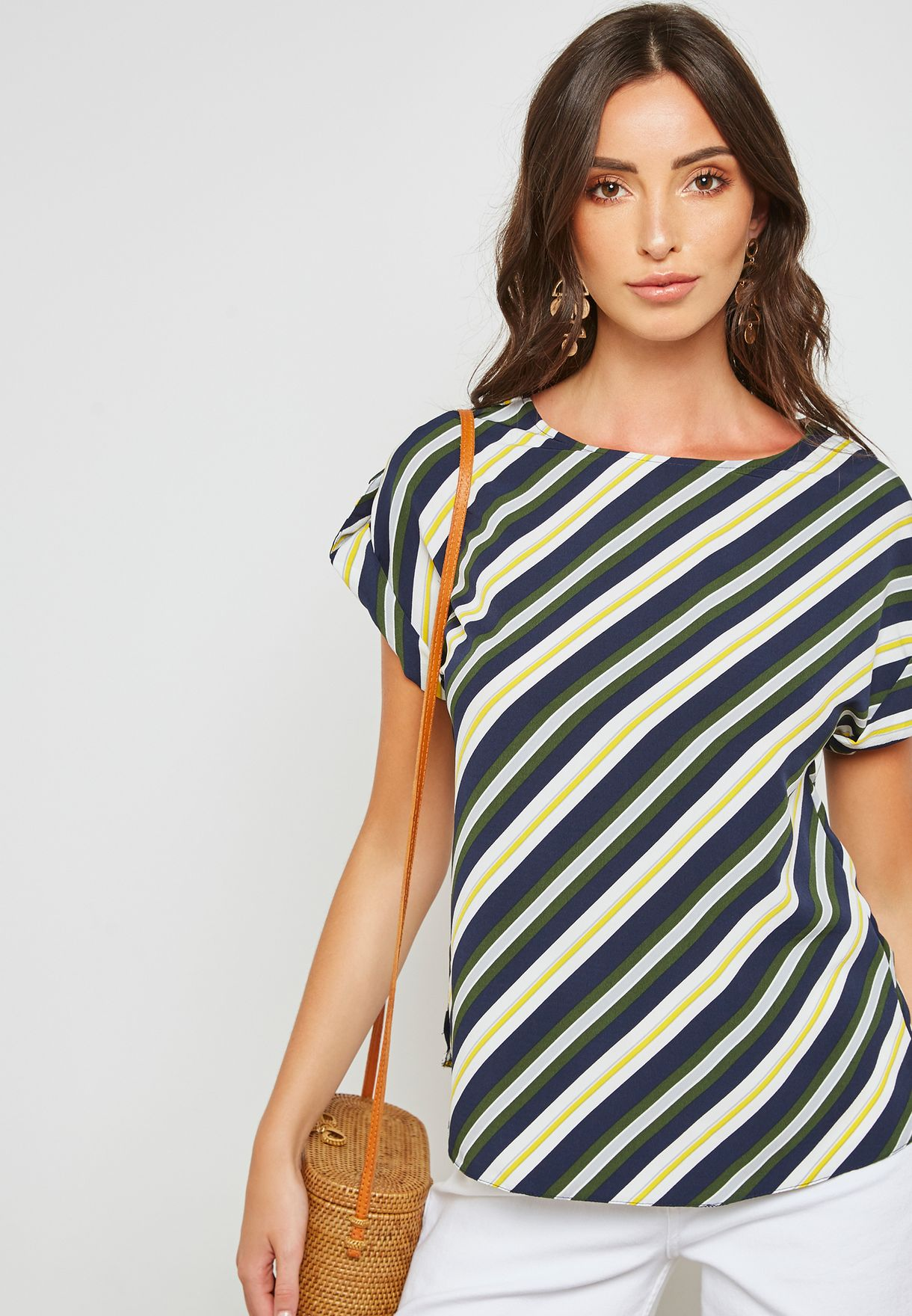 d7357d0b589 Shop Dorothy Perkins prints Striped Roll Sleeves Top 5758782 for ...