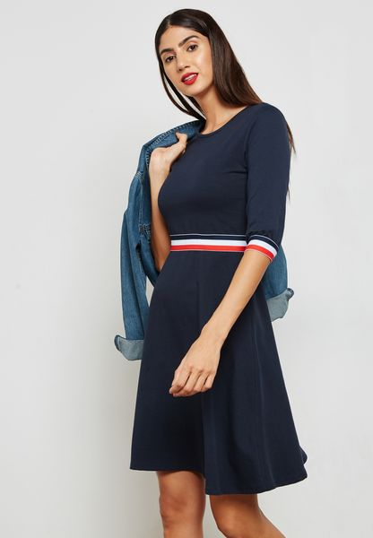 Contrast Paneled T-Shirt Dress