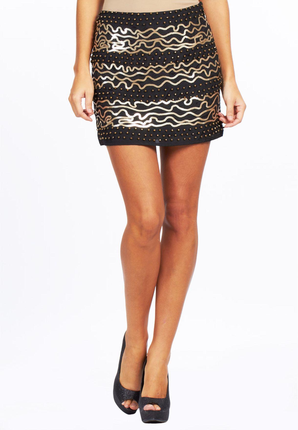 6eacff4acf29 Shop Ginger black Sequin Mini Skirt for Women in UAE - GI121AT34EIB