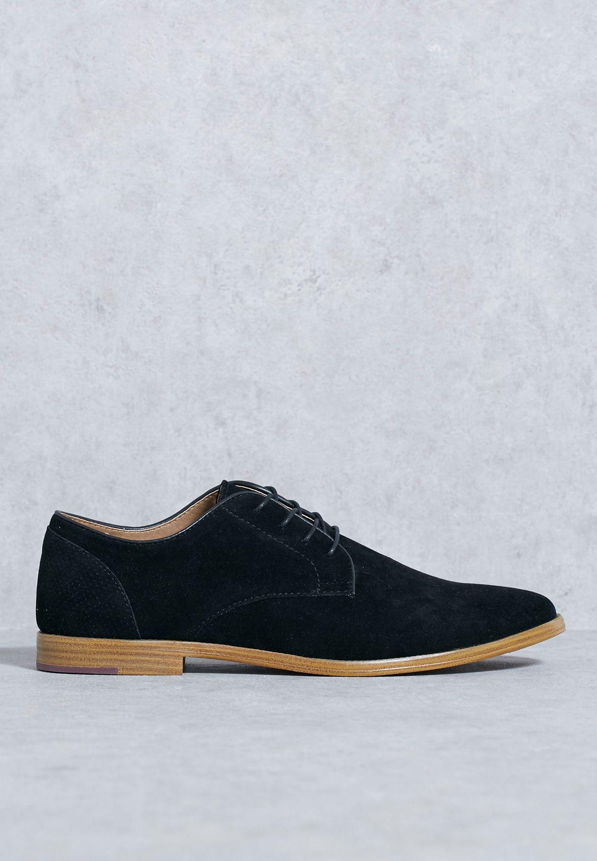 20b3db6b8fd11 Shop Topman black Harris Derby Shoes 76F28LBLK for Men in UAE ...
