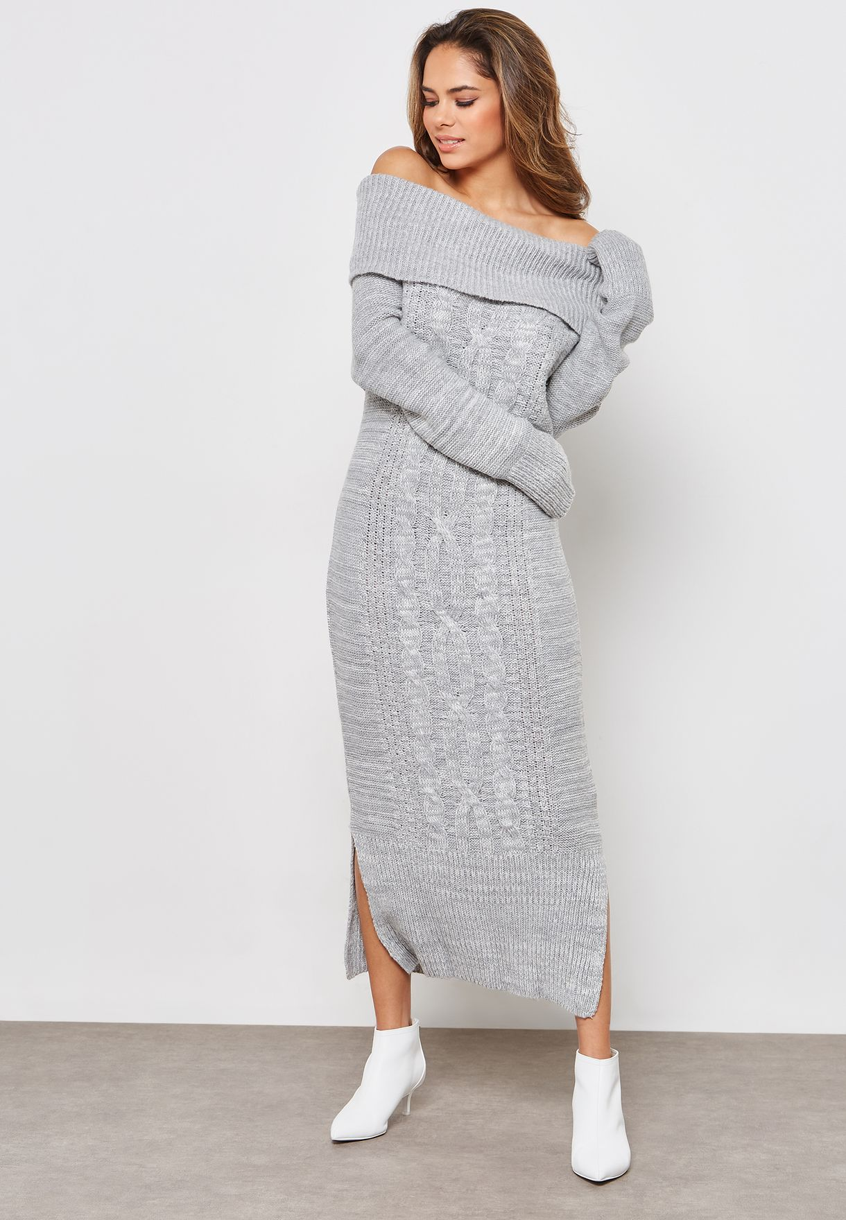 d5d7c0f7ebe Shop Lost Ink grey Long Sleeve Bardot Cable Knitted Midi Dress ...