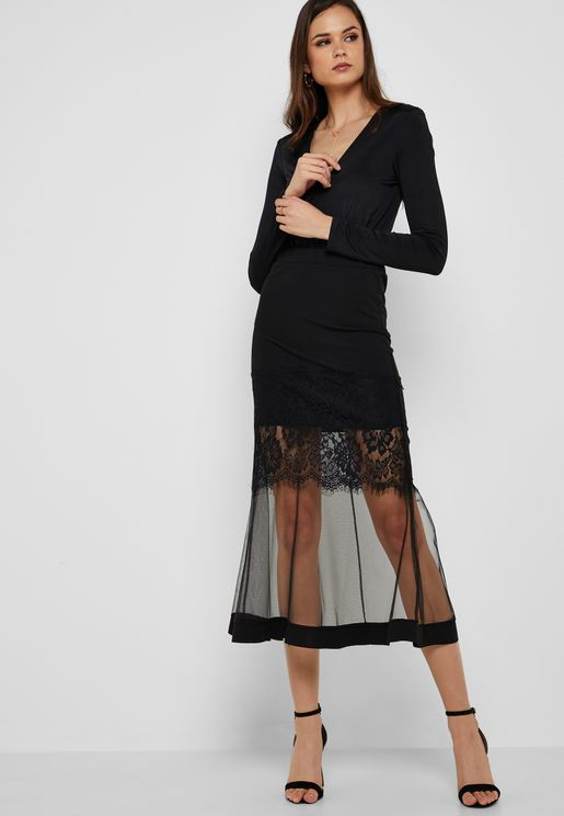 Tiered Lace Tulle Maxi Skirt