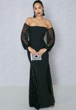 Lace Insert Bardot Bandeau Dress