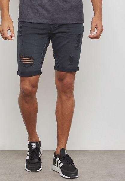 Washed Ripped & Repair Denim Shorts