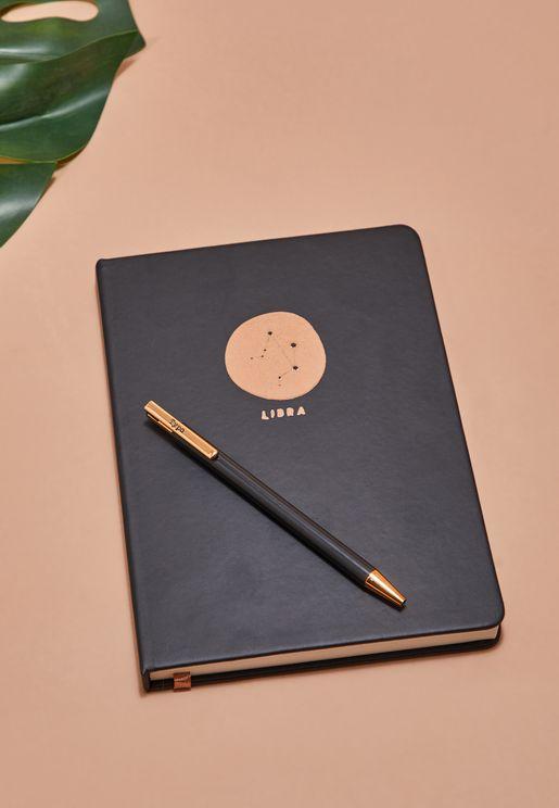 مجموعة دفتر ملاحظات برج الميزان مع قلم