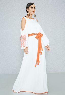 Embroidered Self Tie Cold Shoulder Dress