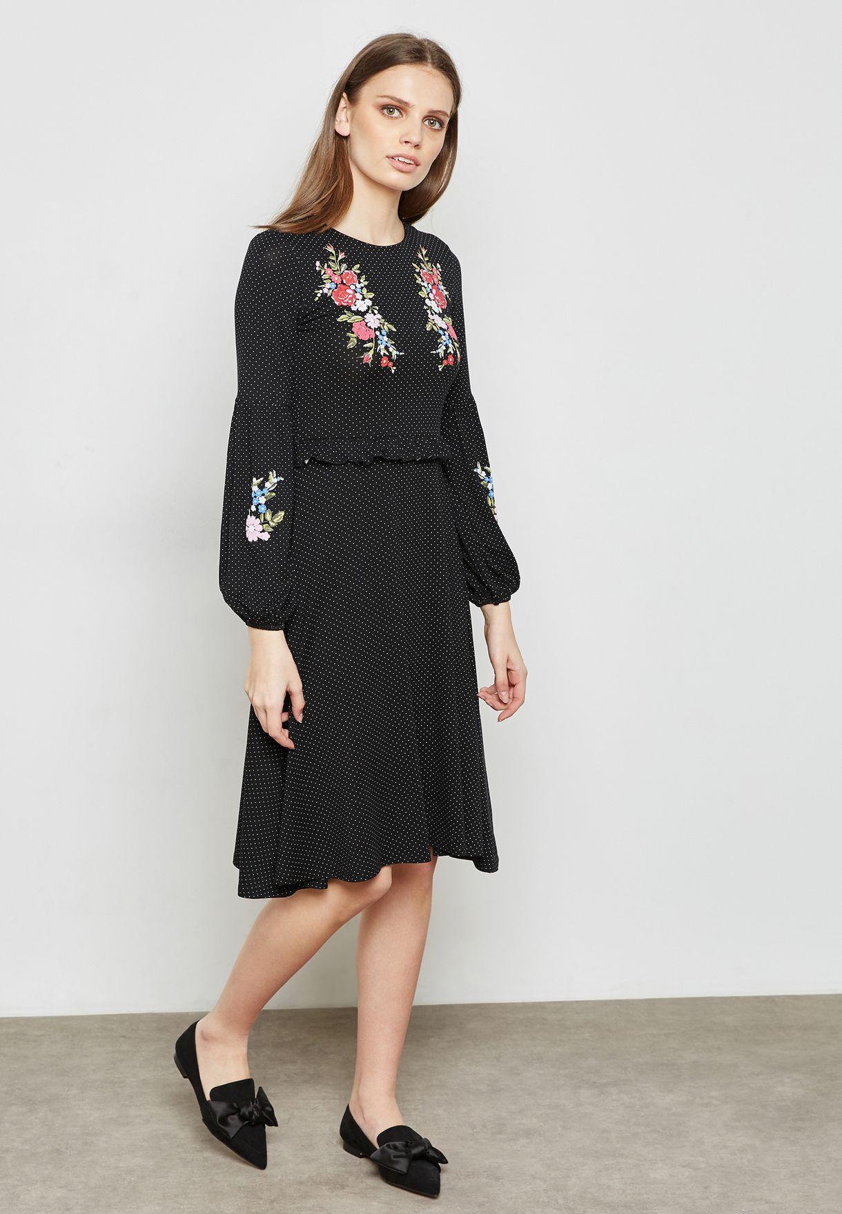 Embroidered Spot Dress