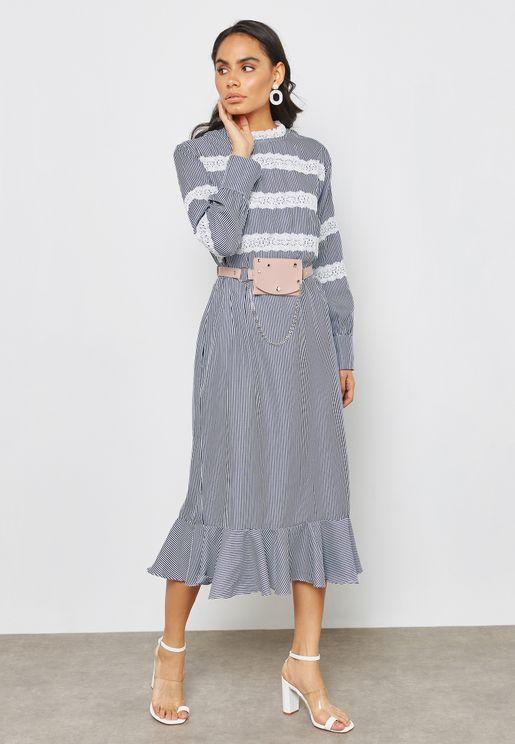 Striped Lace Detail Maxi Dress