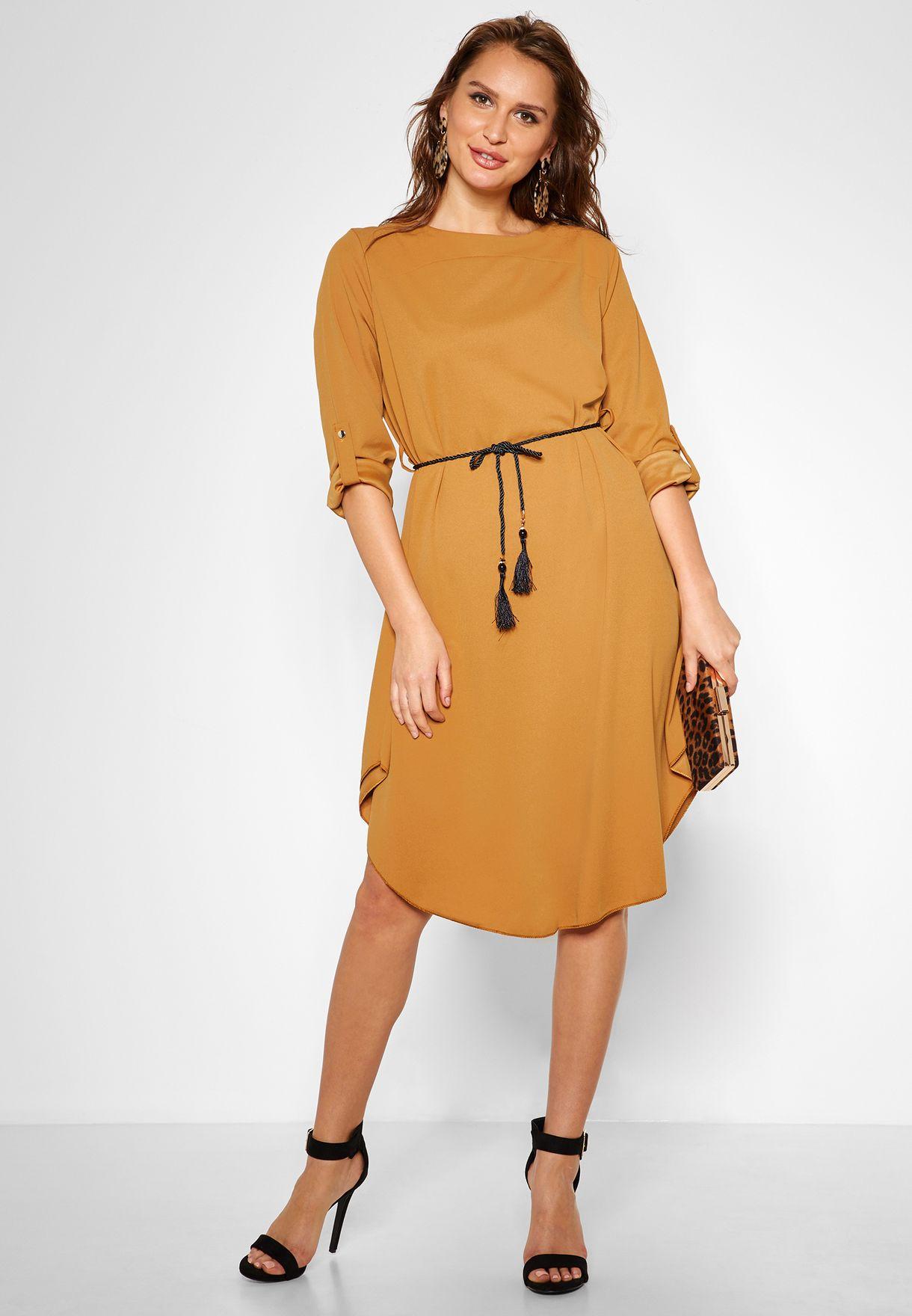 Tassel Belted Midi Dress