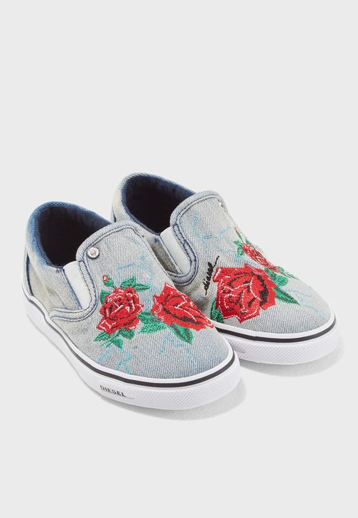 Youth Floral Print Slip On