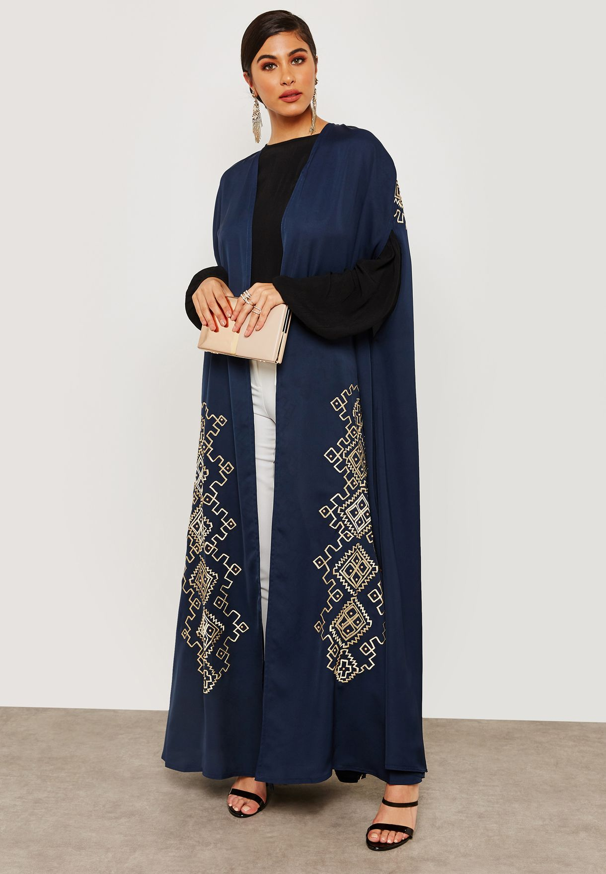 Shop Hayas Closet Navy Embroidered Cape Abaya Awn 598 For Women