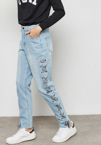 Side Lace Up Straight Jeans