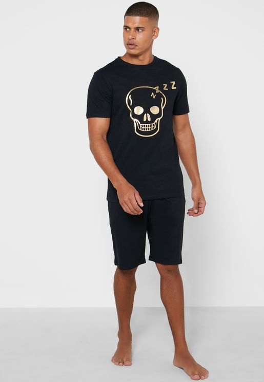 Halloween Metallic Skull Pyjama Set