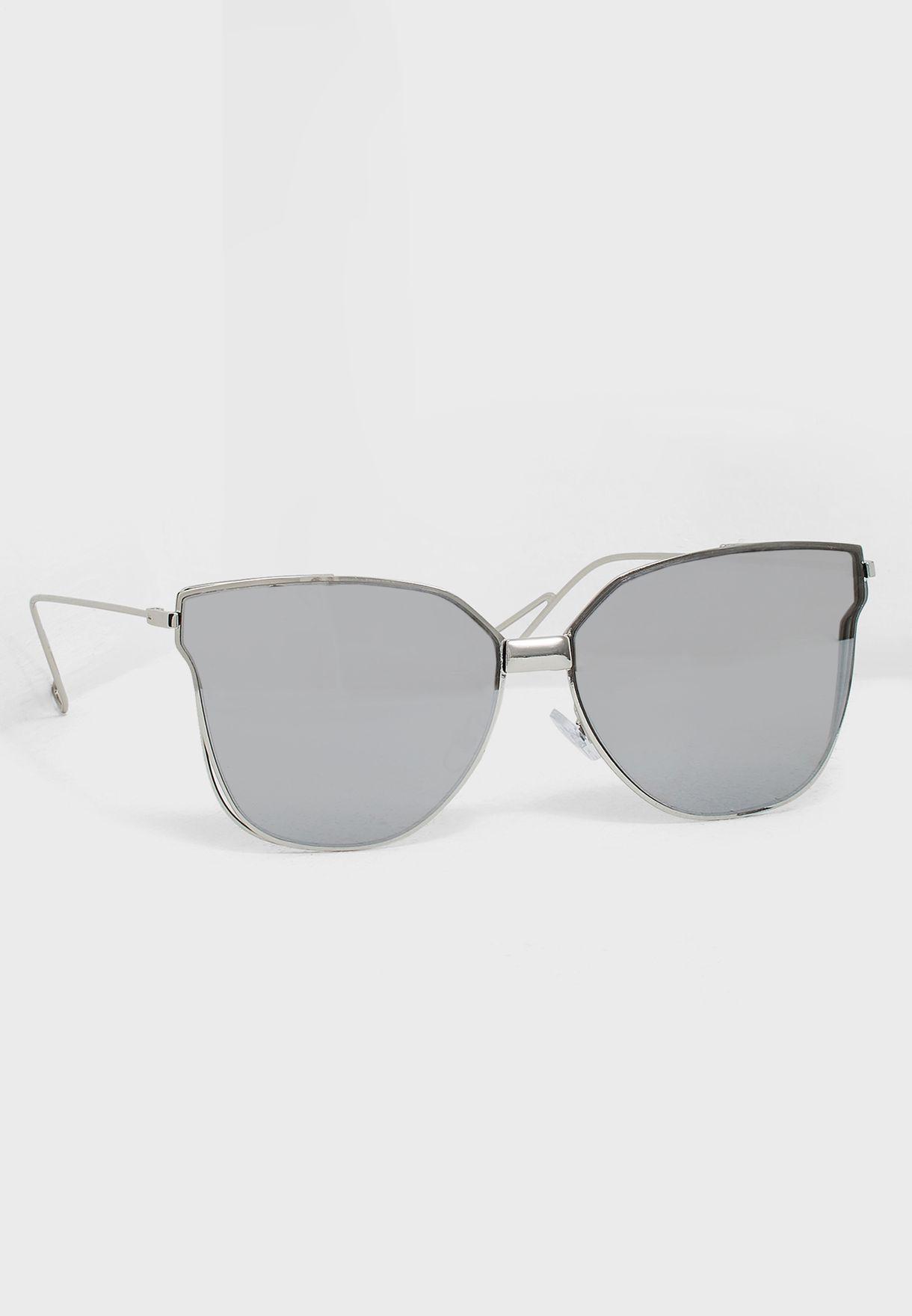 f3955406518 Shop South beach silver Cat Eye Flat Lens Sunglasses 4-FL-800 for ...