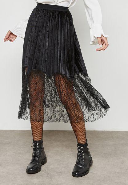 Lace Hem Velvet skirt
