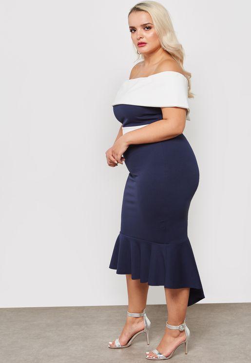 Colourblock Bardot Dip Hem Dress