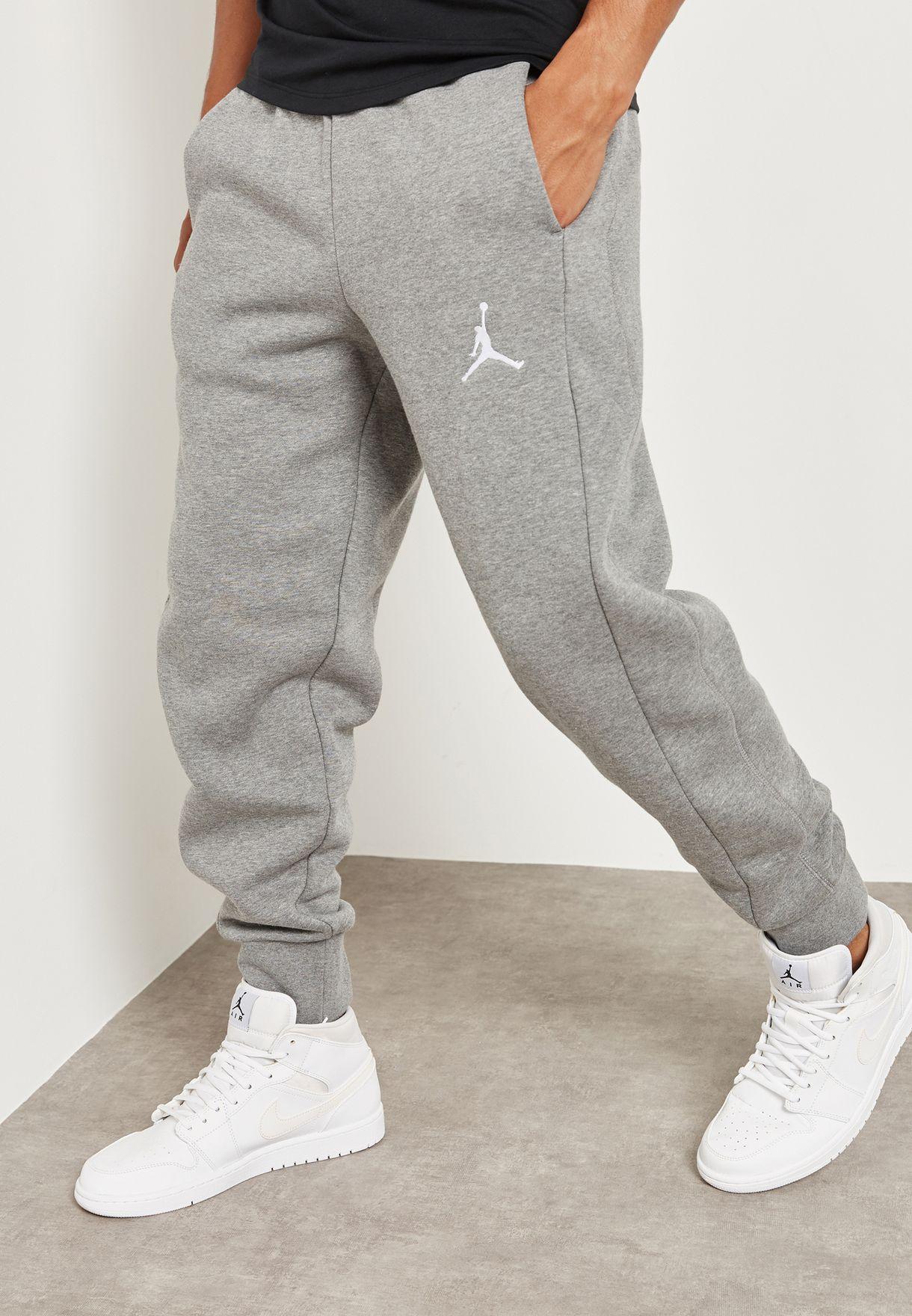 a9267a12078375 Shop Nike grey Jordan Flight Fleece Sweatpants 823071-091 for Men in ...