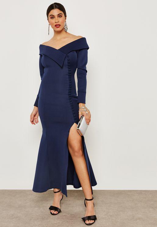 Off Shoulder Textured Mermaid Dress