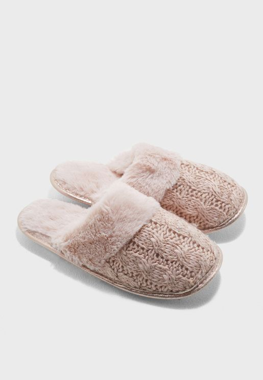 Pink Cable Knitted Mule