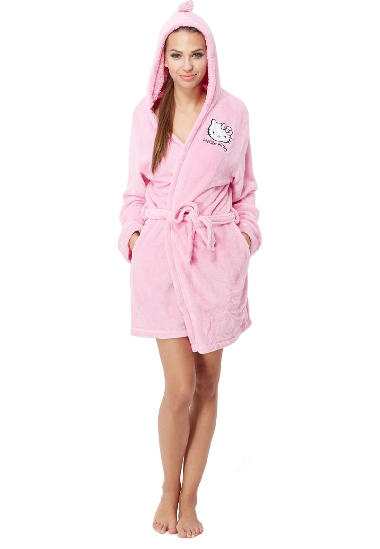 56d151c93 Shop Hello Kitty pink Hello Kitty Hooded Robe for Women in Saudi ...