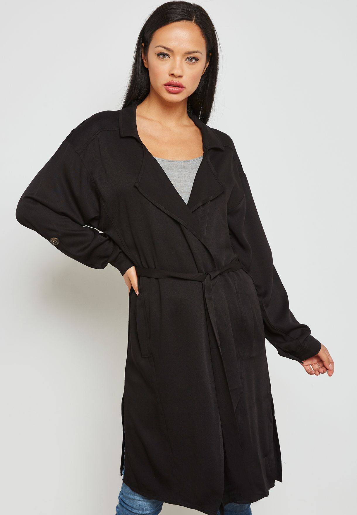 b2199250 Shop Jacqueline De Yong black Tie Waist Kimono 15157369 for Women in ...
