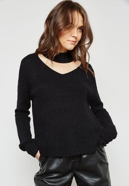 Ribbed Choker Sweater